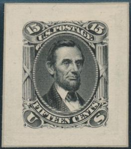 #77P2 15¢ 1861 ISSUE SMALL DIE PROOF XF GEM CV $500 BS2021