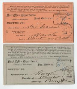 Pair of 1886 registry receipt cards unusual Gum Tree PA [S.55]