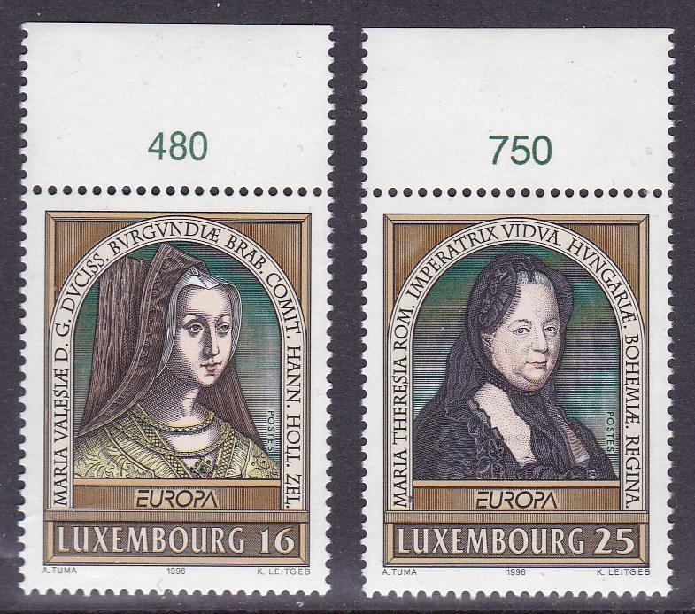 Luxembourg 1996 Europa Famous Women Complete (2) with Control Numbers  VF/NH