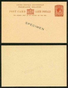 FALKLAND ISLANDS 1938 1d red-brown postcard die-stamped SPECIMEN