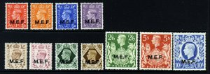 MIDDLE EAST FORCES KG VI 1943-47 Overprinted M.E.F. Set SG M11 to SG M21 MINT