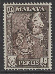 MALAYA PERLIS SG34 1957 10c DEEP BROWN MNH