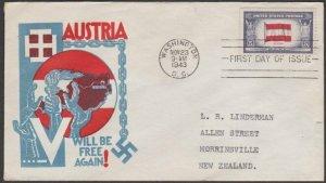 USA 1943 Patriotic FDC to New Zealand - Overrun Nations Austria.............C265