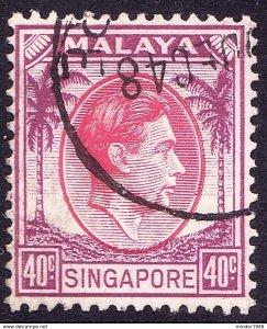 SINGAPORE 1948 KGVI 40c Red and Purple SG15 FU