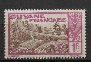 French Guiana 1929, 1fr vio brwn, Scott # 133, VF MNH** (RONPAT-5)