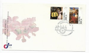 COSTA RICA 1996 COSTUMES DRESSES ART PAINTING AM. UPAEP ISSUE 2 VALUES ON FDC