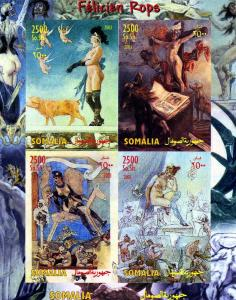 Somalia 2003 FELICIEN ROPS Nudes Paintings Sheet Imperforated Mint (NH)