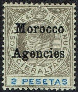 MOROCCO AGENCIES 1905 KEVII 2P WMK MULTI CROWN CA