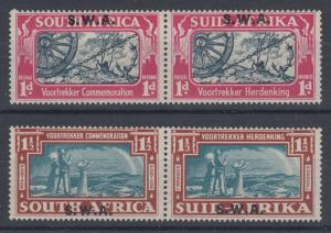 South West Africa Sc 133-134 MLH. 1938 Voortrekker w/ S.W.A. ovpts, VLH F-VF