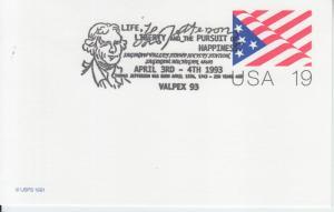 1993 250th Anniversary of Birth of Thomas Jefferson Flag PC Saginaw MI Pictorial