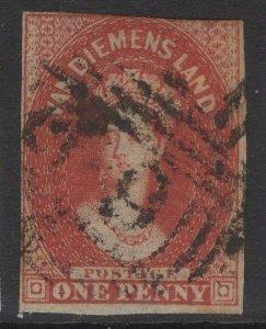 TASMANIA SG14 1855 1d CARMINE USED