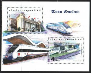 Turkey. 2019. bl 186. Railway stations, trains. MNH.
