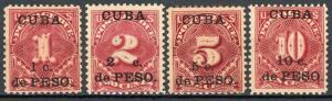 Cuba #J1-J4 Postage due Overprints MH