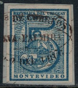 Uruguay #30 on piece  CV $4.00