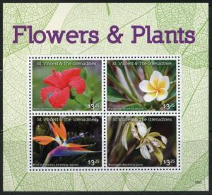 ST. VINCENT GRENADINES 2016 FLOWERS & PLANTS SHEET OF FOUR  MINT NH