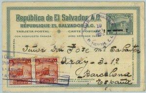 BK0345 - EL SALVADOR - POSTAL HISTORY: Overprinted STATIONERY CARD to SPAIN 1925