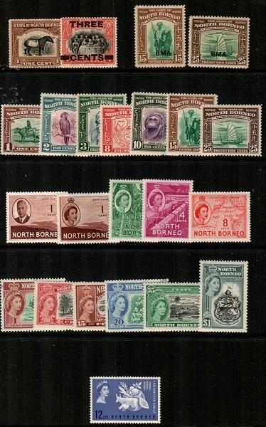 North Borneo - small selection of mostly mint stamps, clean (CV $105.00)