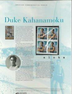 USPS COMMEMORATIVE PANEL #662 DUKE KAHANAMOKU #3660