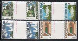 Bermuda Sc 461-64 1985 Buttery, Architecture,  stamp set gutter pair mint NH