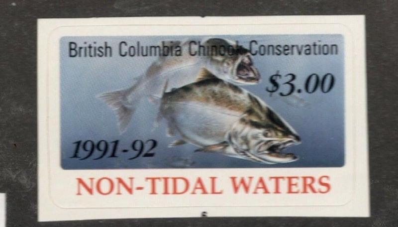 1991-92 Canada  British Columbia Chinook Conservation Stamp  Non-Tidal Waters