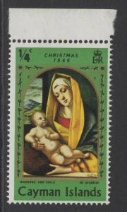 CAYMAN ISLANDS SG255w 1969 CHRISTMAS ¼c WMK INVERTED MNH