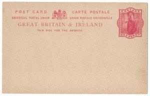 (I.B) QV Postal Stationery : Postcard 1d
