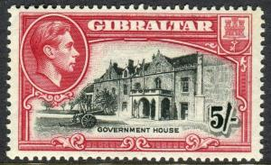 GIBRALTAR-1938-51 5/- Black & Carmine Perf 13½ unmounted mint example Sg 129a