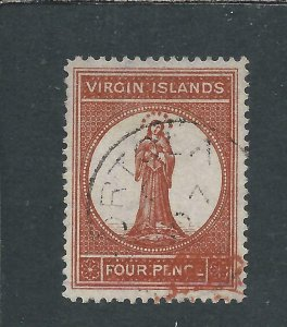 BRITISH VIRGIN IS 1887-89 4d BROWN-RED FU SG 37 CAT £70