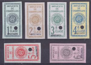 Colombia unused Tobacco Tax Fiscals, Set of 6 w/ SPECIMEN Overprints VF