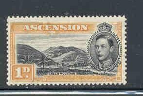 Ascension Sc 41Ac 1d or G VI & Mtns pf 13 1/2 stamp mint