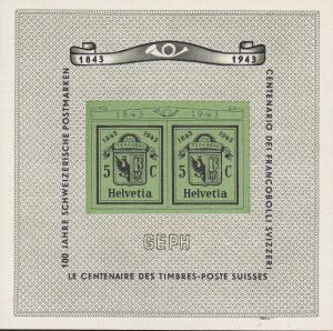 Switzerland 1943 Geneva Stamp Expo Souvenir Sheet. Sct.B132/Zum.W18 VF+/NH/(**).