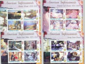 Guinea 2003 American Impressionists, Art, Rotary 7v M/S of 4
