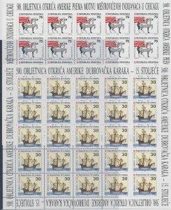 1992 Europa Cept Croatia 2 Mini-Sheets' Off Dell'America  MNH