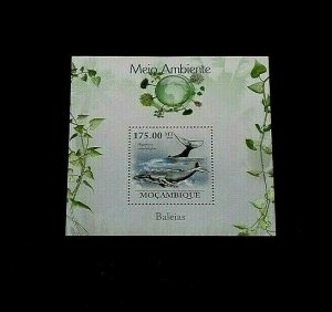 TOPICAL, 2010, MARINE LIFE, MOZAMBIQUE, WHALES, SHEET, LOT #180, MNH, LQQK