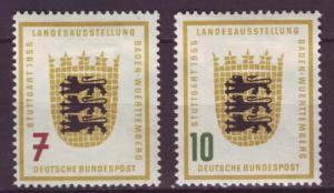 J1063 jls stamp 1955 germany mh scn 729-30 arms set/2