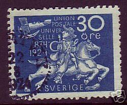 Sweden Sc 218 used 1924 30ö deep blue UPU issue, F-VF