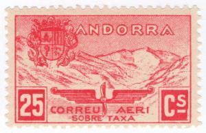 (I.B) Andorra Postal : Airmail 25c