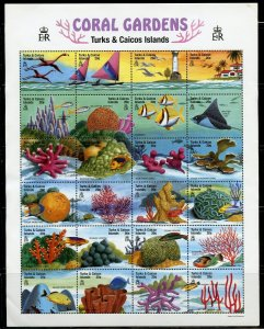 TURKS & CAICOS CORAL GARDENS SHEET MINT NH
