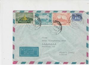 Burma 1959 Airmail Rangoon Sorting Cancels Multiple Mixed Stamps Cover Ref 29062