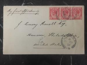 1922 Penang Straits Settlements Cover To Hannover Pa Usa