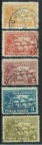 NEW GUINEA 1925 HUT RANGE TO 4D USED/CTO