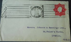 Australia 1918 GV One Penny Postal Envelope to England with variety