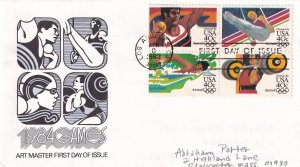 1983, Olympic Games-1984, Block/4, Art Master, FDC (E11328)