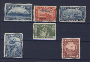 6x Canada Mint Stamps;  #202-203-204-208-209-210.  Guide Value = $74.00.