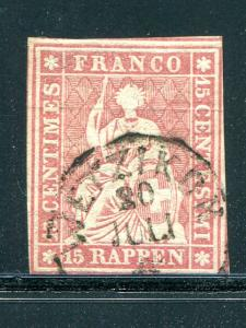 Switzerland  #17   used  F-VF Cat $175 -  Lakeshore Philatelics