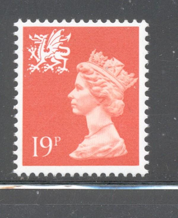 GB Wales SC WMMH36 1988 19p red orange Machin Head stamp NH