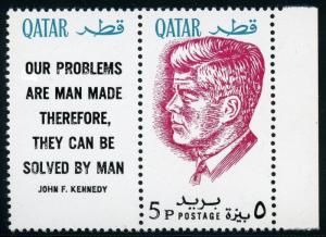 QATAR 1964  JOHN F. KENNEDY SCOTT 101 PERF WITH LABEL MINT NEVER HINGED