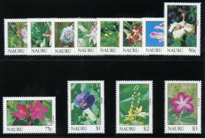Nauru 1991 QEII Flowers set complete superb MNH. SG 391-402. Sc 380-392.