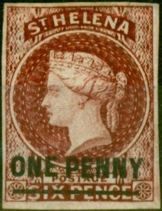 St Helena 1863 1d Lake SG3 Type A Fine Mtd Mint