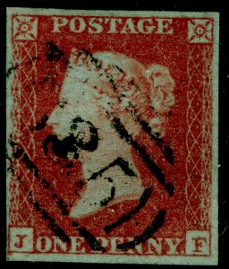 SG8, 1d red-brown PLATE 125, FINE USED. Cat £35. JF